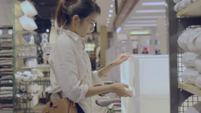 asian woman grocery shopping - plastic container stock videos & royalty-free footage