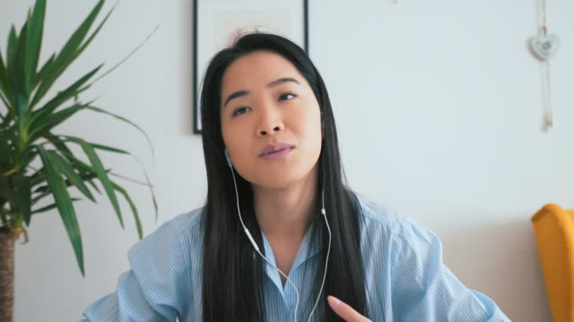 asian woman having a job interview. - video call stock videos & royalty-free footage