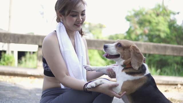 stockvideo's en b-roll-footage met aziatische vrouw in gymnastiekkleren met een huisdier. - jogster