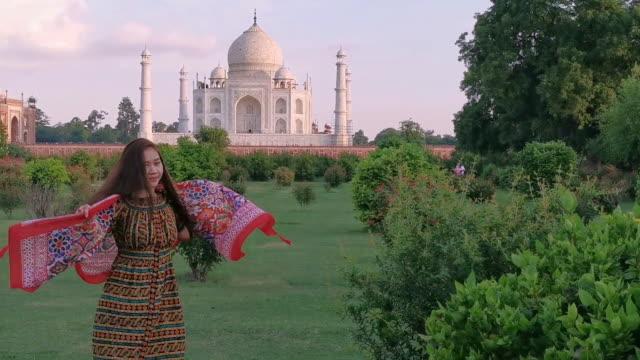 asian woman in red saree/sari in the taj mahal, agra, uttar pradesh, india - mosque stock videos & royalty-free footage