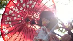 Asian woman in traditional kimono