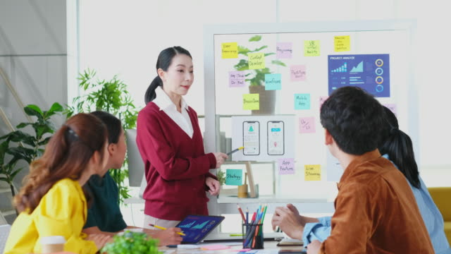 asian woman leader present the business plan at business meeting team, asia female project manager showing the mobile app development and discussing with teamwork at creative modern office - symbol stock videos & royalty-free footage