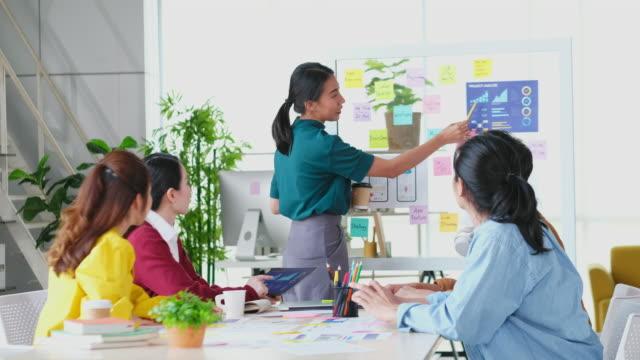 アジアの女性リーダーがビジネスミーティングチームでビジネスプランを発表し、アジアの女性プロジェクトマネージャーがモバイルアプリ開発を示し、クリエイティブモダンオフィスでチ� - プロトタイプ点の映像素材/bロール