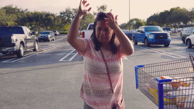 asian woman load grocery bags in back of the car - paper bag stock videos & royalty-free footage
