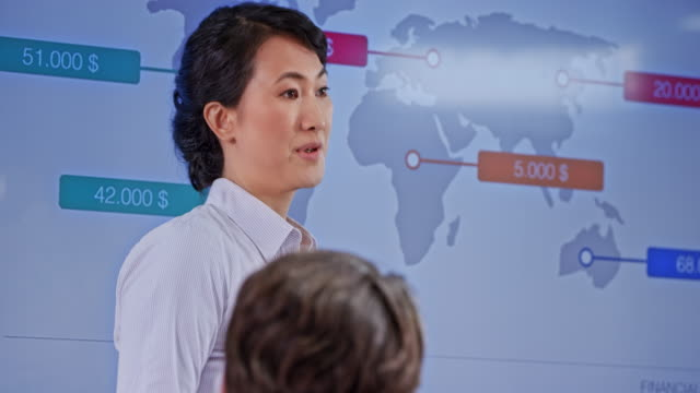 asian woman pointing on the display in the conference room during her presentation - corporate business stock videos & royalty-free footage