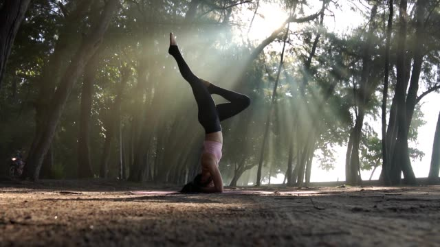 asian woman practicing yoga in morning . - balance stock videos & royalty-free footage
