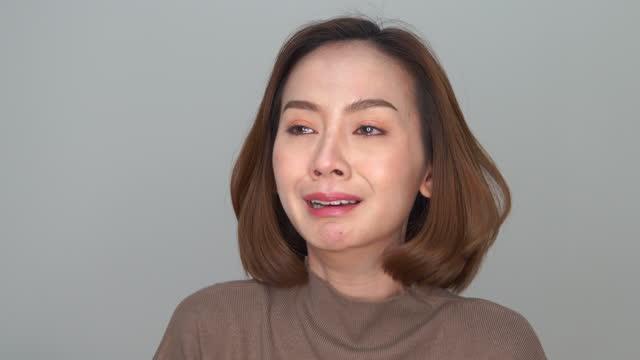 asian woman sadness crying emotion facial expressing - mental burnout stock videos & royalty-free footage