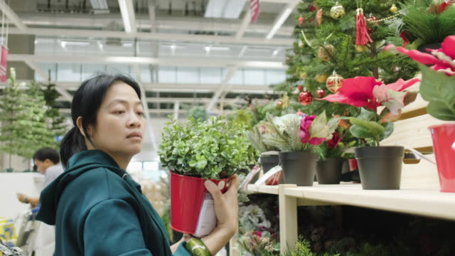 asian woman shopping red christmas tree for gift from shelf at department store for new year holiday seasonal. - shelf stock videos & royalty-free footage