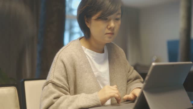 asian woman using laptop in home - homemaker stock videos & royalty-free footage
