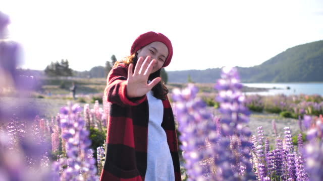 asian woman waving hands hello saying with lupine flower in new zealand - waving stock videos & royalty-free footage