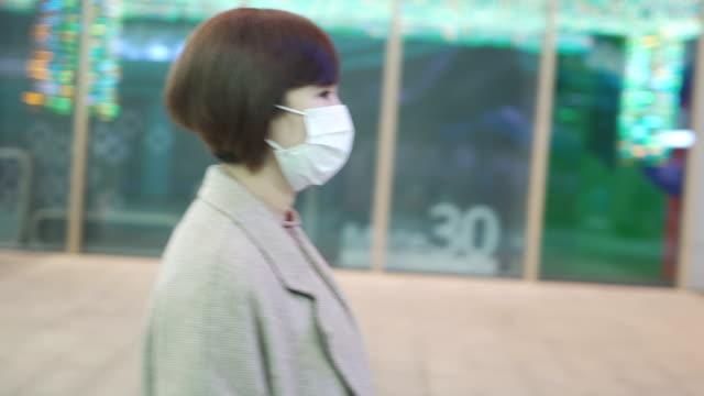 vidéos et rushes de femme asiatique avec le masque hygiénique - profil