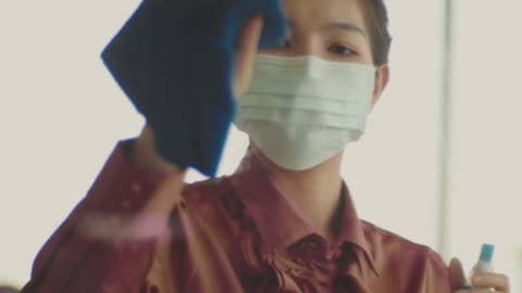 asian woman with hygienic mask - cleaning stock videos & royalty-free footage