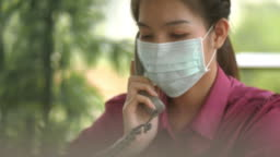 Asian woman with hygienic mask