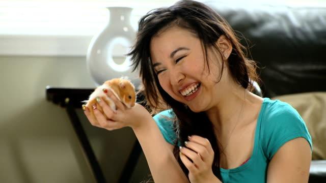 vídeos y material grabado en eventos de stock de mujer asiática con mascotas de hámster - hamster