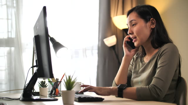 asian woman work support at home - remote location phone stock videos & royalty-free footage