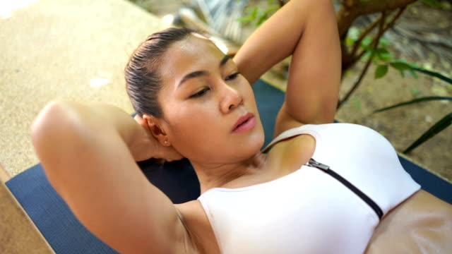 asian woman workout yoga and pilates - deltoid stock videos & royalty-free footage