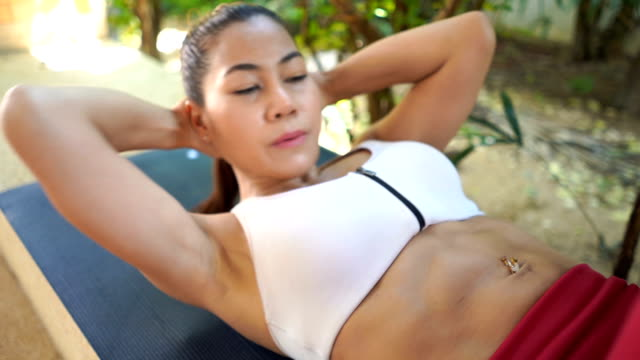 asian woman workout yoga and pilates - deltoid stock videos and b-roll footage
