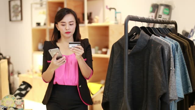 Asian women shopping online