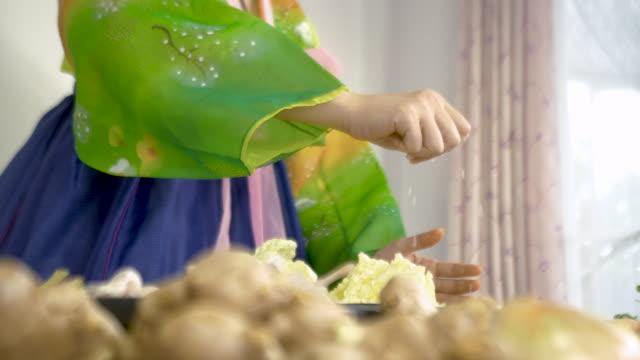 vídeos de stock e filmes b-roll de asian women wearing hanbok korean traditional costumes are cooking kimchi - tradição
