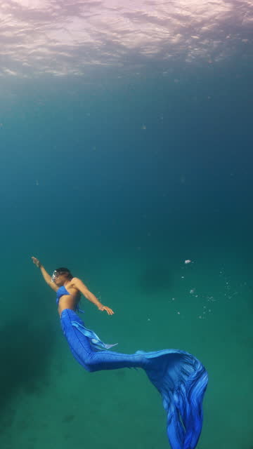 asian women wearing mermaid dress and diving in crystal clear water in the sea ocean - skirt stock videos & royalty-free footage