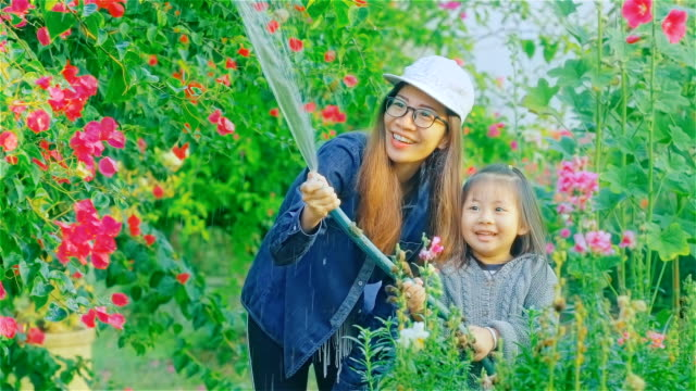 asian young mother and daughter watering flowers together - ethnicity stock videos & royalty-free footage