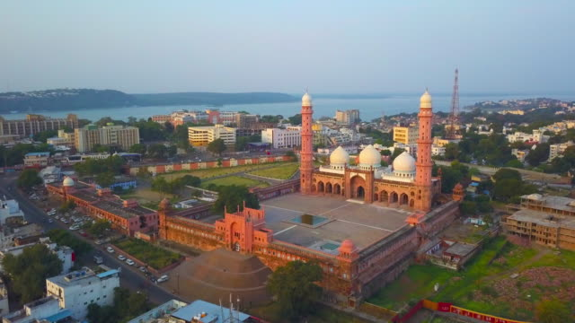 asia's biggest mosque: aerial footage - madhya pradesh stock videos and b-roll footage
