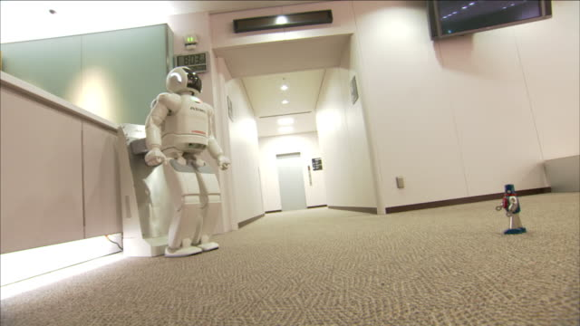 asimo, a humanoid robot, moves its head as a miniature toy robot moves across a carpeted office floor. - asimo stock videos & royalty-free footage