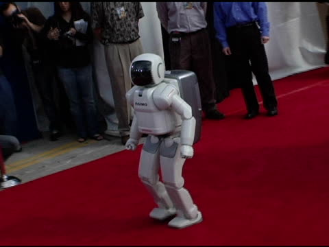 asimo robot at the 'robots' world premiere at the mann village theatre in westwood california on march 6 2005 - asimo stock videos & royalty-free footage