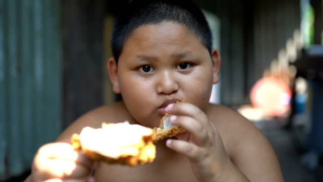 asisn boy eat chicken outdoor - overweight kid stock videos & royalty-free footage
