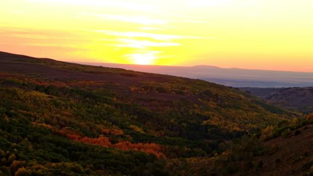 aspen fall autumn sunset on the slopes of a desert mountain steens mountain near malheur national wildlife refuge 1 - wildlife conservation stock videos & royalty-free footage