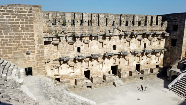 aspendos amphitheatre - amphitheatre stock videos & royalty-free footage