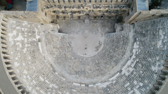 aspendos ancient roman theater aerial view - ruined stock videos & royalty-free footage