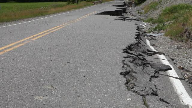 Asphalt collapsed on the road