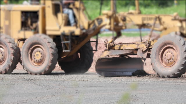 asphalt road construction and street road work place with bulldozer prepare gravel - road construction stock videos and b-roll footage