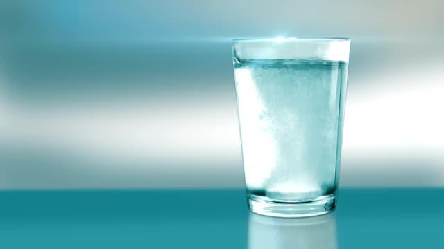 Aspirin in a water glass-blue