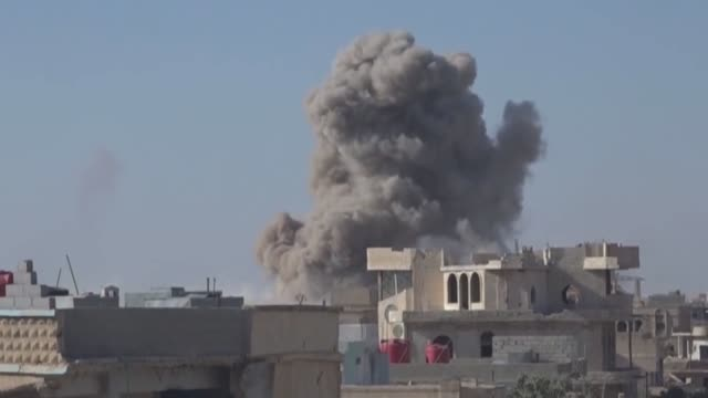 assad regime airstrikes hit southern daraa city of syria on june 25 2018 - luftangriff stock-videos und b-roll-filmmaterial
