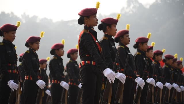 assam police veerangana participate in the parade during 71st republic day celebration - military uniform stock videos & royalty-free footage