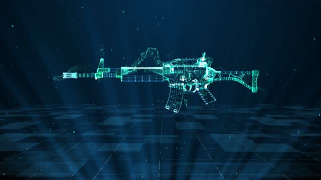 assault rifle military technology and digital analysis 4k - machine gun stock videos & royalty-free footage