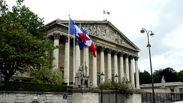 assembly national and former palais bourbon - flag stock videos & royalty-free footage