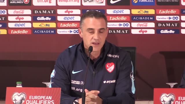Assistant coach Tayfur Havutcu of Turkish National Football Team holds a press conference after the 2018 FIFA World Cup European Qualification Group...