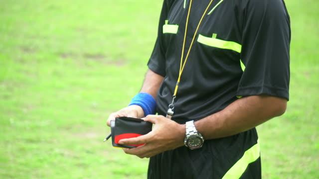 サッカーの試合中に行動中のアシスタントレフリー - スポーツの判定員点の映像素材/bロール