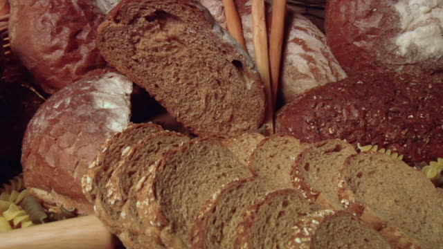 cu, pan, assorted bread - white bread stock videos and b-roll footage