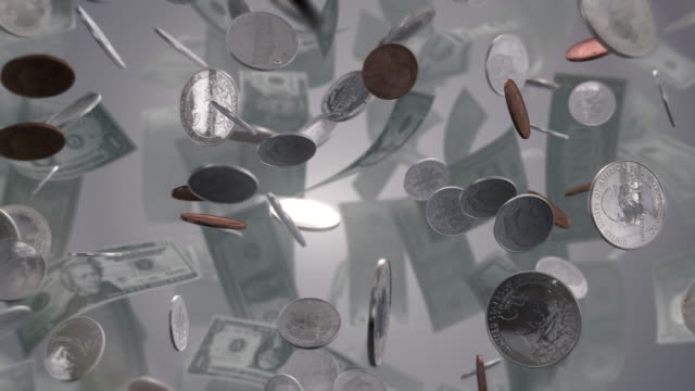 assorted colorful pills change to money on white - dime stock videos and b-roll footage