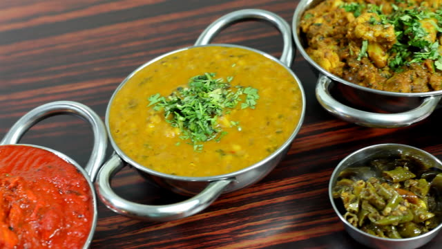 assorted indian food served on a dining table - dahl stock videos and b-roll footage