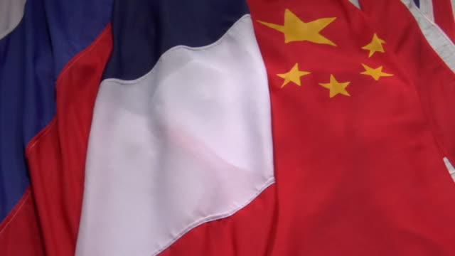 vídeos y material grabado en eventos de stock de ecu, pan, assorted national flags - grupo mediano de objetos