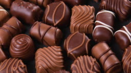 Assorted pralines with milk and dark chocolate
