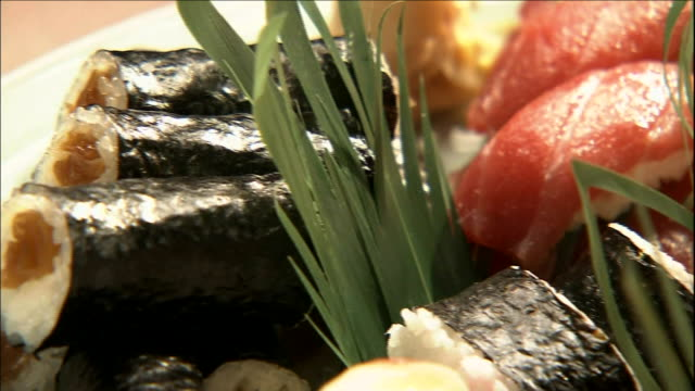 assorted sushi fills a platter. - nigiri stock videos and b-roll footage