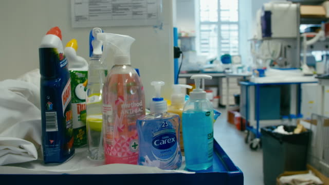 assortment of antibacterial cleaning products - housework stock videos & royalty-free footage