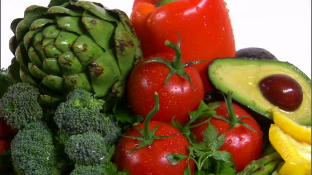 ms assortment of fresh vegetables / orem, utah, usa - bordsyteinspelning bildbanksvideor och videomaterial från bakom kulisserna