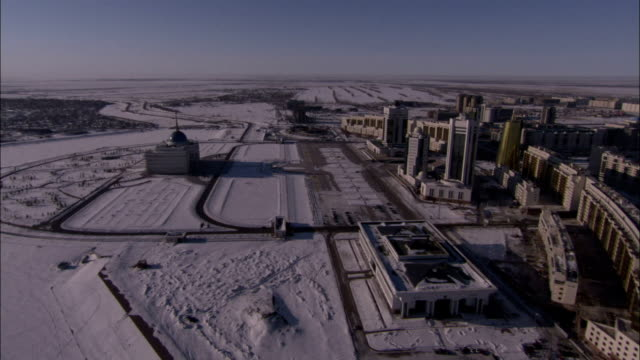 Astana Kazakhstan is seen from the air on a wintry day. Available in HD.